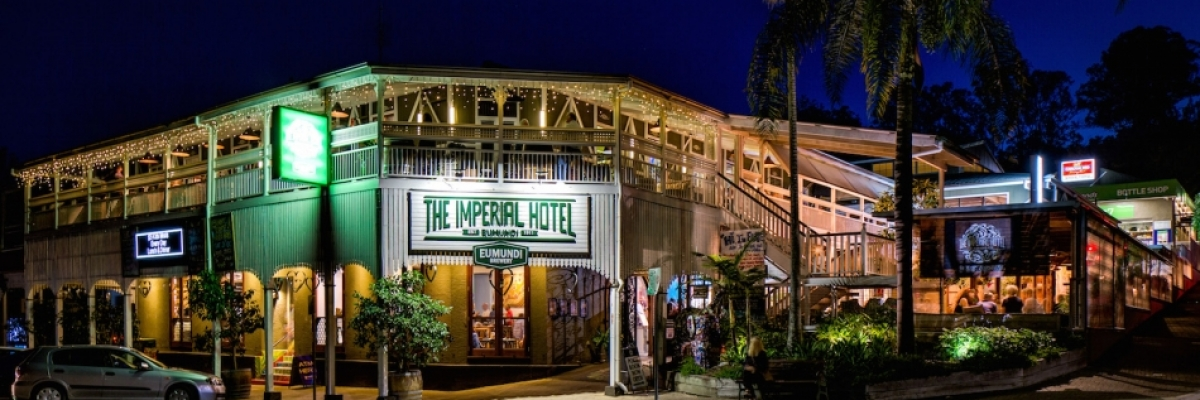 Exterior night time pic of Imperial Hotel lower res